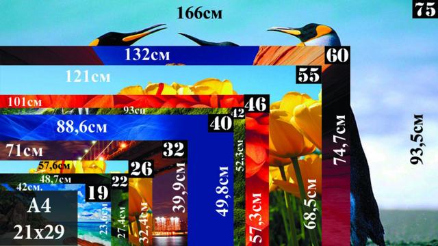 Диагональ телевизора в сантиметрах и дюймах: таблица значений и калькулятор